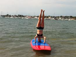 handstand by water